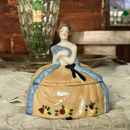 Alhajero De Porcelana Alemana Con Dama Antigua