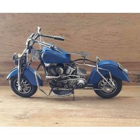 Motocicleta Miniatura Em Metal Azul