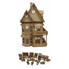 Castelo Casa Casinha P/ Boneca Polly +35 Mini Móveis Mdf