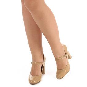 Sapato Boneca Salto Feminino Lara - Nude