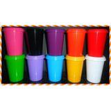 150 Copos Com Tampa Colorido Plástic Para Personalizar 200ml