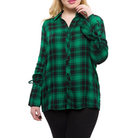 Blusa Escocesa Amarra Mangas Verde Dijon