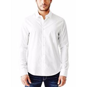 Camisa G By Guess Blanca Ezra Solid Shirt Talla L Importada