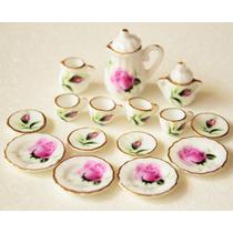 Hermoso Juego De Te Miniatura Porcelana Fina M Baron Rose