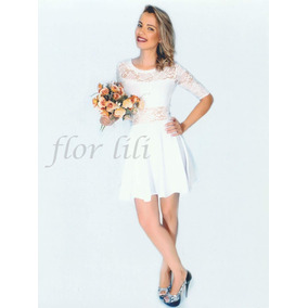 Vestido branco simples para casamento no civil