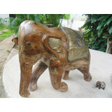 Elefantes En Madera Tallada Con Resaltados En Metal De Bronc
