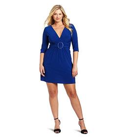 Vestido Corto Manga ¾ Cinturón Azul Talla Extras Importación
