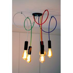 Lustre Pendente Industrial Iluminação Moderna Colorido