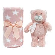 Gift Ursinho Star Com Cobertor Manta Para Bebê Rosa - Buba