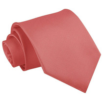 T10 Corbata Tono Coral Liso - Textura Microcuadros