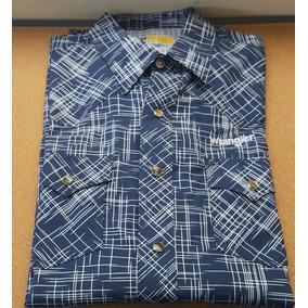 Camisa Vaquera Wrangler Azul Fuerte Con Lineas Blancas