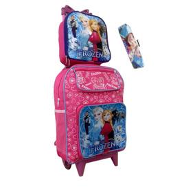 Mochila Escolar Infantil Frozen Lancheira Rodinhas Rosa
