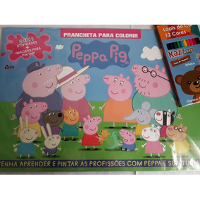 Kit Infantil Lápis De Cor 12 Cores+revista Colorir Peppa Pig