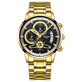 Relógio Masculino Nibosi 2309-1 Original 30 Metros Dourado