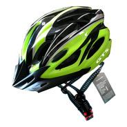 Capacete Verde Inn Mould Com Sinalizador Led Ciclismo Bike
