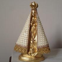Imagem Nossa Senhora Aparecida, Dourada, Pérolas, 25 Cm