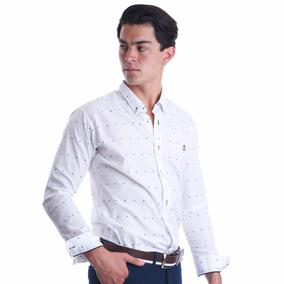 Camisa La C Puntos Blancos Y Marinos
