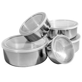 Conjunto De Potes Inox 5 Peças Tampa Plástica - Home&garden