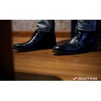 Borcegos Zapatos Botas Boating De Cuero