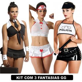 Plus Size Sexy Moda Feminina Kit Com 3 Uni Gg Fantasia