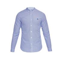 Camisa Social Burberry Manga Longa Listrada Azul Com Branco