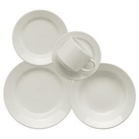 Aparelho De Jantar Chá 30 Peças Em Cerâmica Branco Biona
