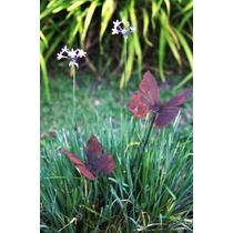 Mariposa Pinche Jardín De Hierro Oxidado Mini