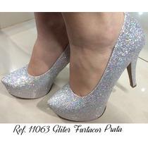 Sapato Salto Alto Meia Pata Glitter Brilho Furta Cor Prata