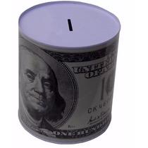 Alcancía Metálica Billete De 100 Dolares 12 Cm