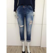 Calça Feminina Jeans Cropped Rasgada Desfiada Blogueira