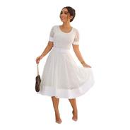 Vestido Princesa Midi Godê Moda Evangélica