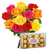 Buque Rosas Artificiais Coloridas Com Bombom Ferrero Rocher