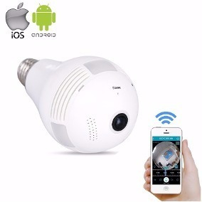 Lampada Camera Ip Led Wifi Hd Panorâmica 360º Espião Celular