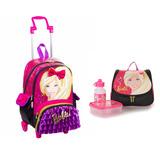 Kit Mochila Barbie 16z Bolsinha Rodinha + Lancheira Menina G