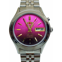 Relogio Orient Automatico 21 Jewels Cristal 3 Estrelas Rosa
