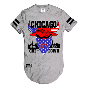 Camiseta Longline Thug Life Swag Camisa Chicago Rappers Rap