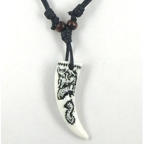 Cordão Colar Pingente Dente De Dragão Tribal Amuleto Grande