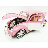 Miniatura Wolks Fusca Rosa Tunado 1:18 Vw Beetle 1967