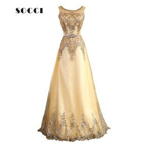 Vestido Longo Festa Formatura Casamento Dourado Importado 21