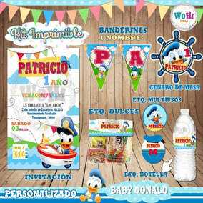 Kit Invitacion Baby Shower,disney Pato Donald Personalizado
