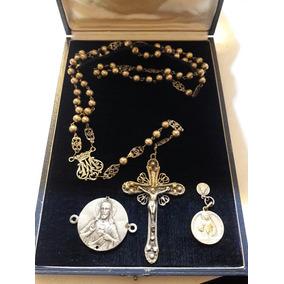 Medalla De Plata De L. Dropsy Y Rosario Colonial De Plata