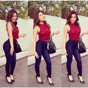 Calca Jeans Feminina Cintura Alta Com Lycra Hot Pants Skinny
