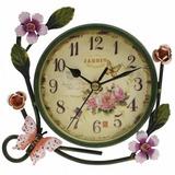 Relogio De Parede Flores Vintage Antiga Antiquario 17cm