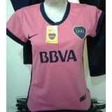 Camiseta Boca Juniors Rosa Entallada Dama Escudo Logo Bordad