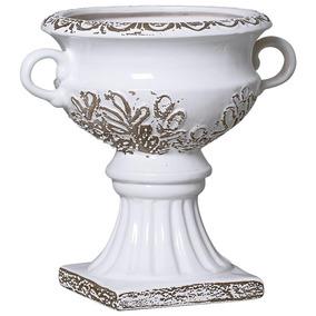 Vaso Em Cerâmica Esmaltado Branco E Marrom 30x34 Cm