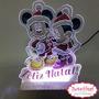 Luminária Acrílico Em Led Natal Mickey E Minnie