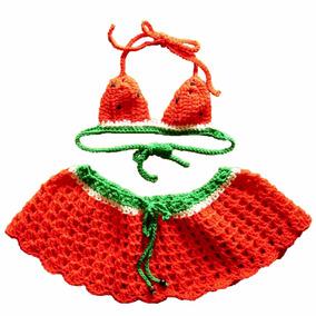Bikini Para Nena Modelo Sandía - Tejido Artesanal En Crochet