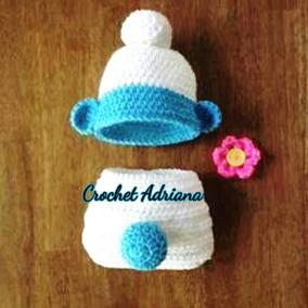 Calzoncito Pañalero Y Gorro Pitufo Pitufina Crochet