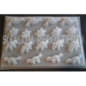 *molde Mediano Gomitas 18 Mini Dinosaurios Chocolate Jabon*