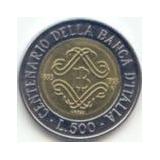 Itália - 500 Liras De 1.993 - Centenár. Do Banco Italiano.